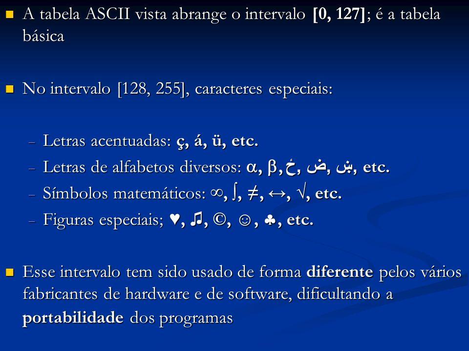 A tabela ASCII vista abrange o intervalo [0, 127]; é a tabela básica